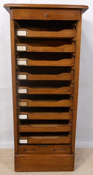 Oak Roll Front Filing Cabinet