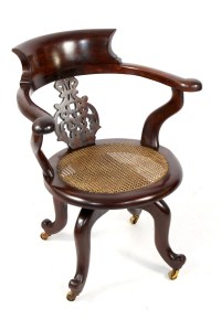 Antique Victorian Mahogany Captains Desk Office Swivel ...