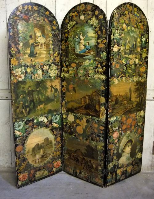 Antique Victorian Decoupage Scrap Screen  201892