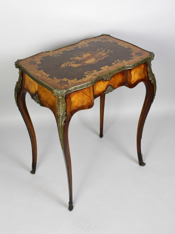 French Kingwood & Floral Marquetry Ladies Vanity Table