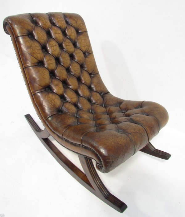 Antique Leather Rocking Chair