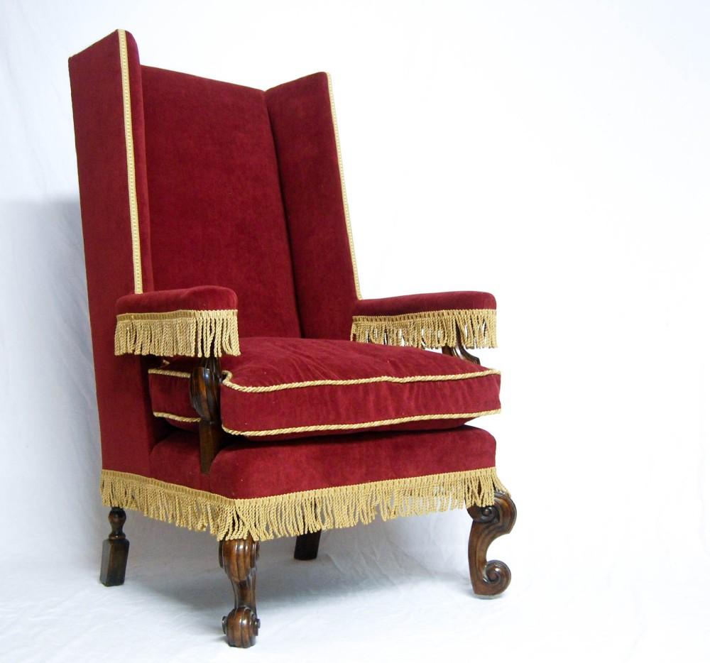 Victorian Velvet Upholstered Walnut Wingback Armchair In