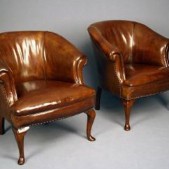 Leather Tub Chair Gray Rattan Dining Chairs Antique Pair Of 281262 Sellingantiques Co Uk