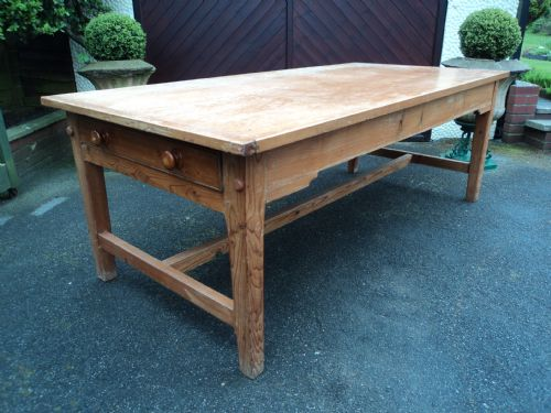 pine kitchen table how much cost remodeling large antqie farmhouse dining 7ft long