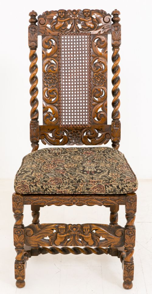 Superb Set Of 8 62 Walnut Jacobean Style Chairs