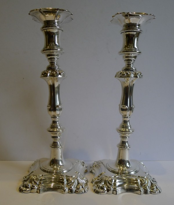 Pair Antique English Silver Plated Candlesticks .1860