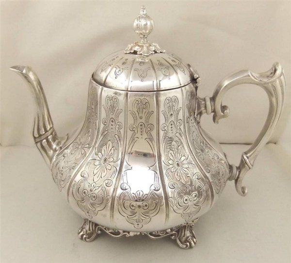 Antique Engraved Silver Plated Teapot 9 Ashberry Sons