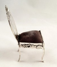 Unusual Antique Silver Chair Pin Cushion With Coin ...
