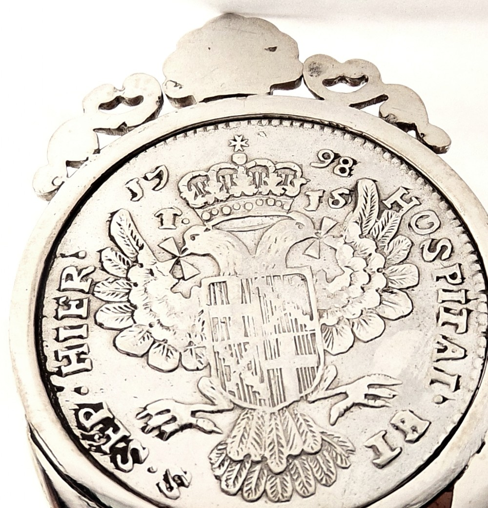 Unusual Antique Silver Chair Pin Cushion With Coin