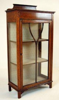 Glass Fronted Pier Cabinet Display Case Antique Oak ...