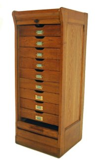 Oak Tambour Filing Cabinet Roll Front Drawers Antique ...