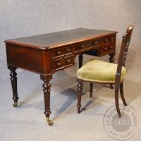 Antique Victorian Rosewood Writing Desk Leather Library ...