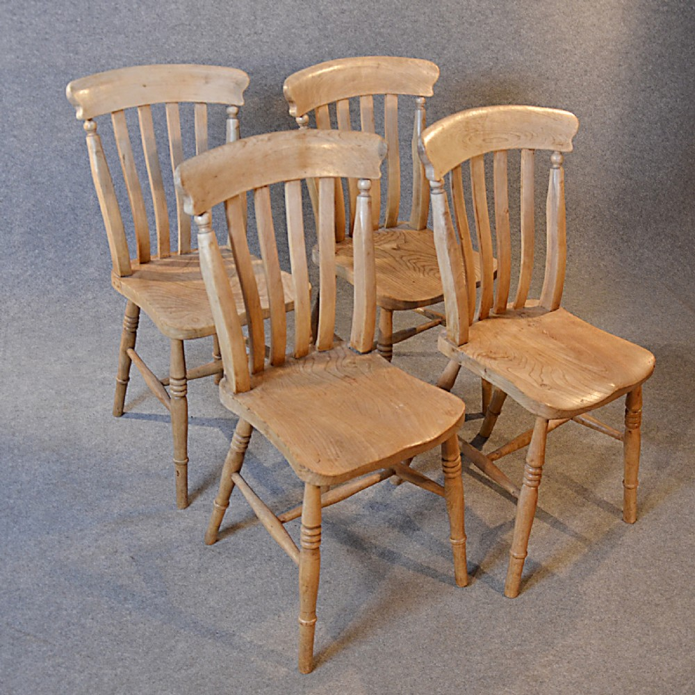 Antique Kitchen Dining Chairs Set 4 Quality Victorian Elm
