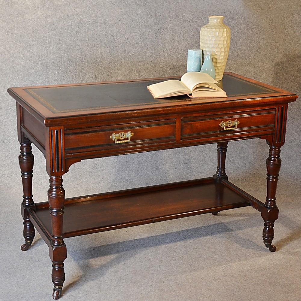 Antique Desk Victorian English Leather Top Mahogany