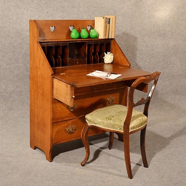 Antique Bureau Writing Study Desk Oak Top Quality English