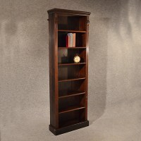 Antique Oak Tall Bookcase Narrow Library Cabinet Victorian ...