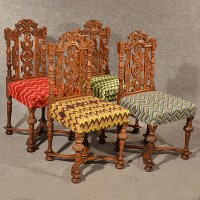 Antique Dining Chairs Oak Carved Tapestry Needlepoint ...