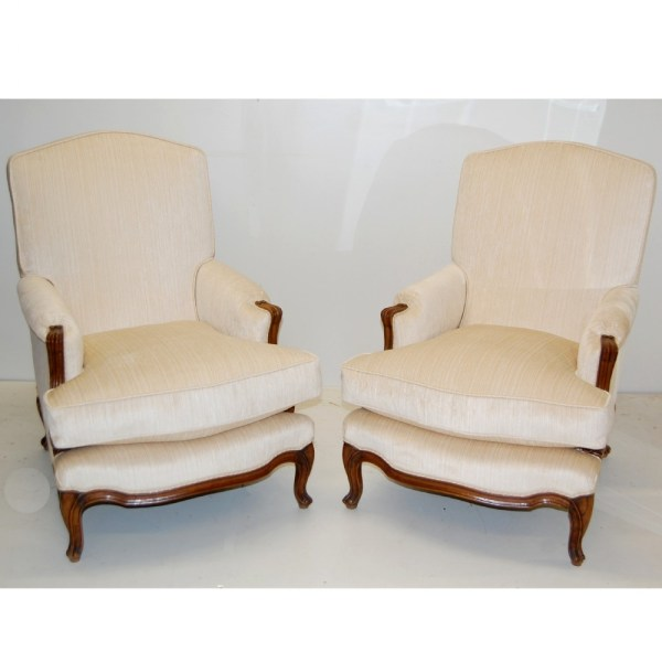 Large Pair Of French Armchairs - Fully Re Upholstered ...