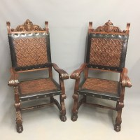Pair Of Embossed Leather 'throne' Chairs | 460508 ...