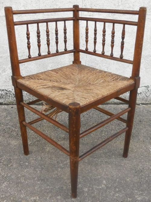 wooden corner chair poppy high cover malaysia spindle back rush seat 136957 spindleback