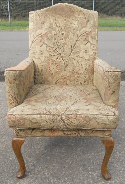 Queen Anne Style Fireside Armchair For Re Upholstery