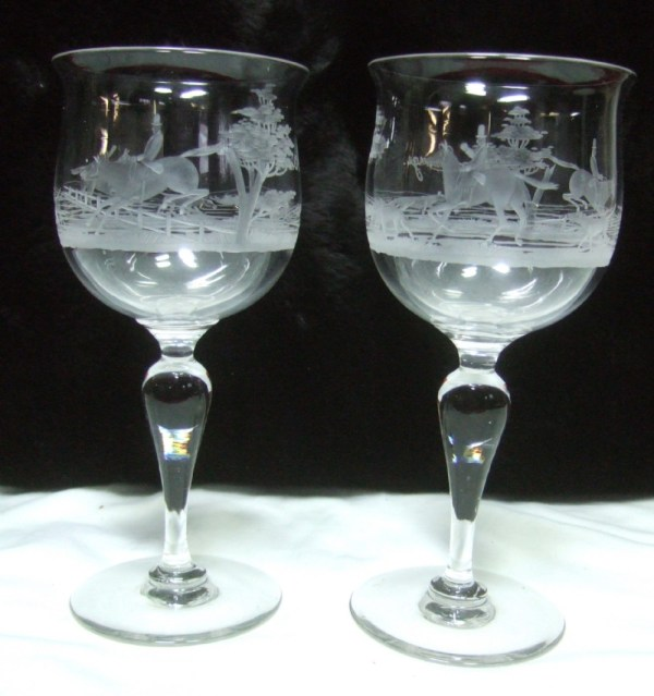 Pair Of 1920' Etched Glass Wine Goblets Depicting Hunting