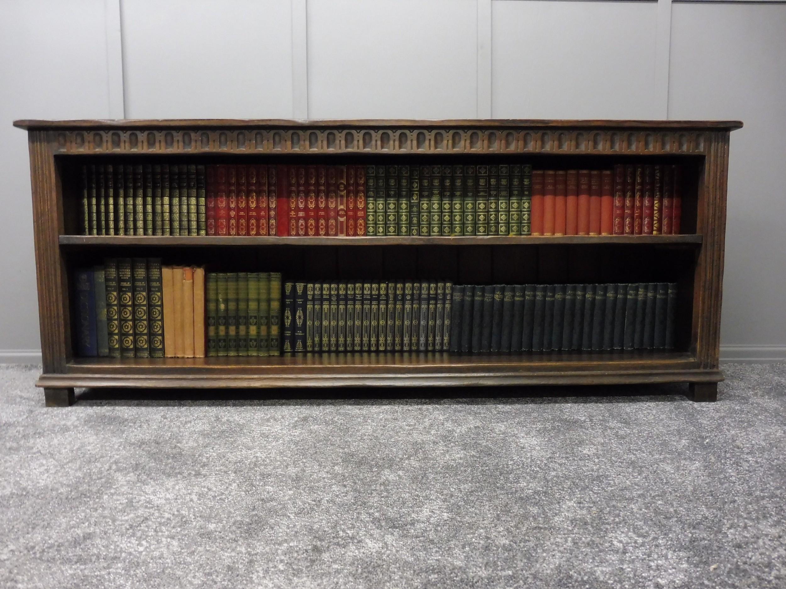 Long Low Solid Oak Tudor Style Bookcase 594581