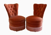 Pair French Tub Chairs Bedroom Boudoir Armchairs Button ...