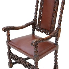 High Back Chairs With Arms Small Bedroom Georgian Gothic Carved Walnut Armchair Throne Chair Leather | 401355 Sellingantiques.co.uk