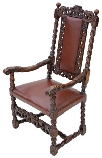 Georgian Gothic Carved Walnut Armchair Throne Chair ...