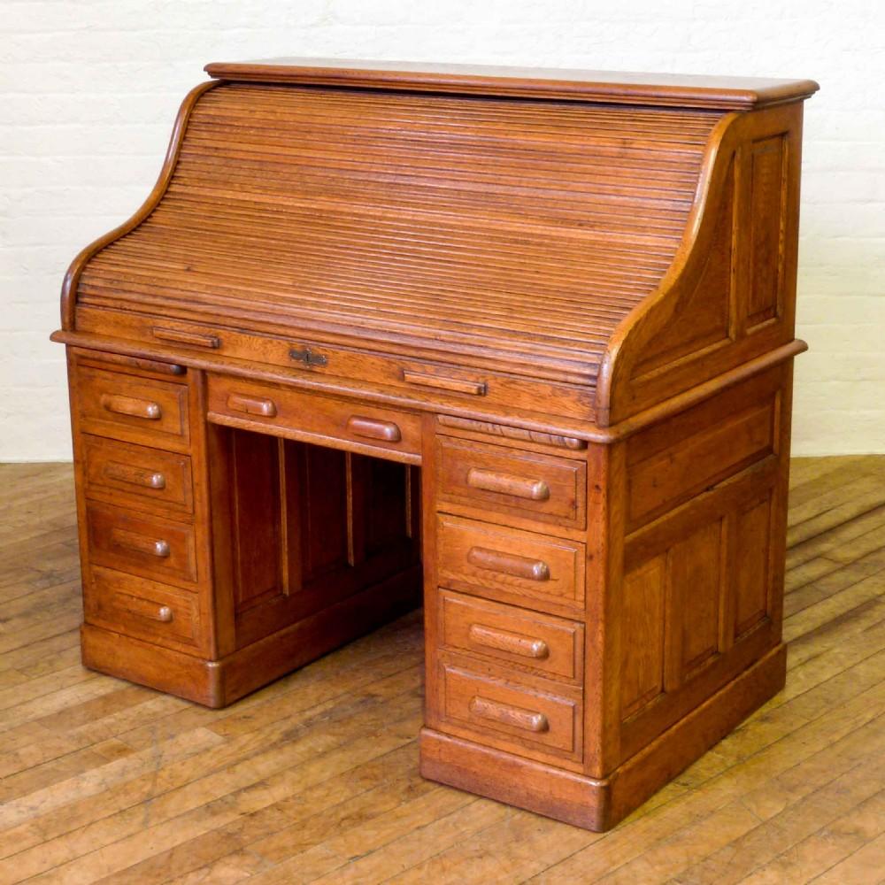 Edwardian Oak Roll Top Desk  364542  Sellingantiquescouk