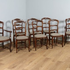 Antique Ladder Back Chairs Uk Wood Lounge Chair Outdoor Set Of 8 Eight French Louis Provincial Oak Upholstered Kitchen Dining (circa ...