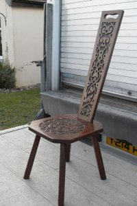 Late 19th Century Carved Oak High Back Spinning Chair ...