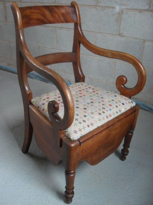 Victorian Mahogany Scroll Armed Commode Chair  144893