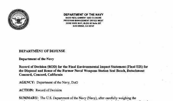 department of defense record of decision
