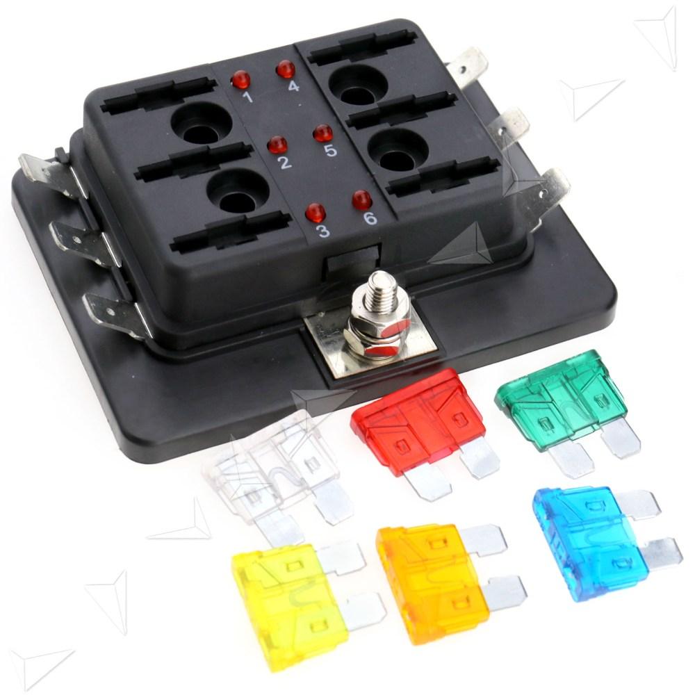 medium resolution of blade fuse box block holder 6 way led indicator light kit for 12v car marine