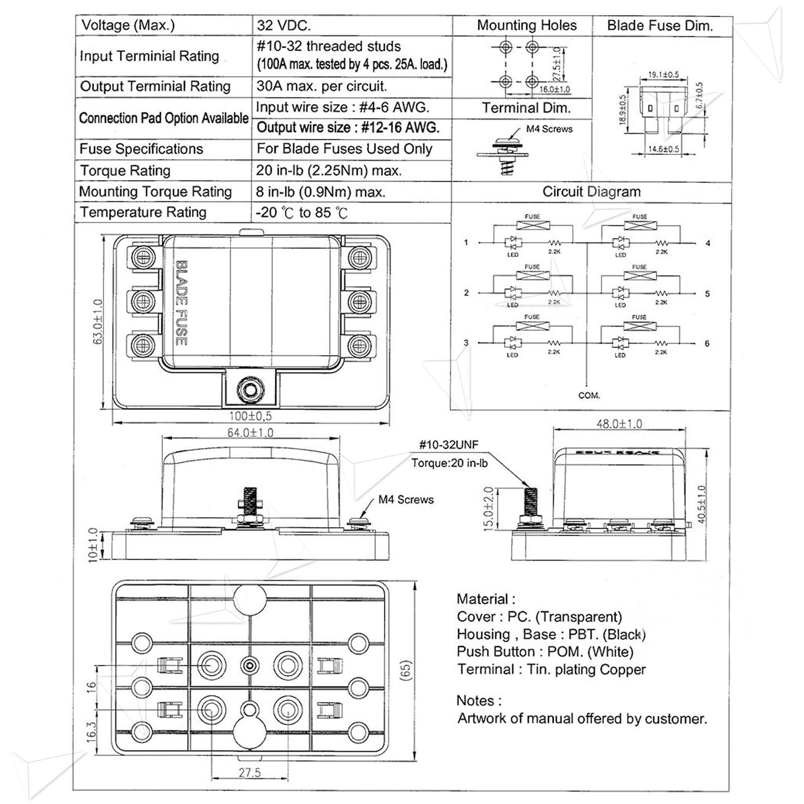 hight resolution of blade fuse box block holder 6 way led indicator light kit for 12v car marine