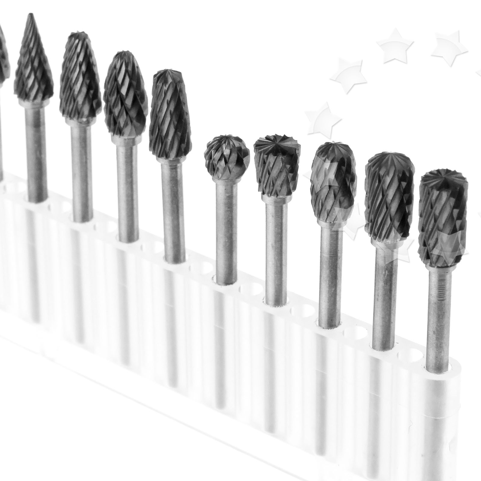 10x Tungsten 3mmx6mm Head Carbide Burrs Dremel Rotary Tool