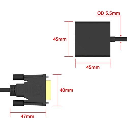 small resolution of dvi to vga adapter dvi 24 1 dvi d dual link to vga male to female cable adapter