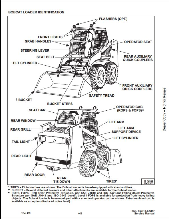 Bobcat 853,853H Skid Steer Loader Service Manual PDF