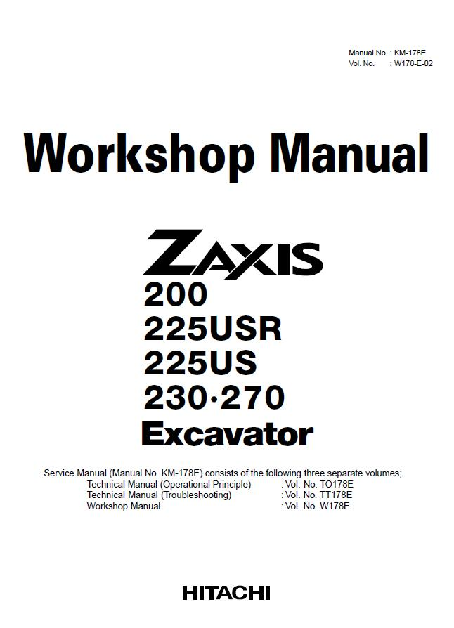 Hitachi Zaxis 200 225 230 270 Excavator Workshop Service