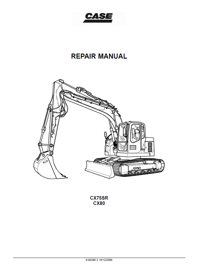 Case CX75SR-CX80 Crawler Excavators Service Repair Manual