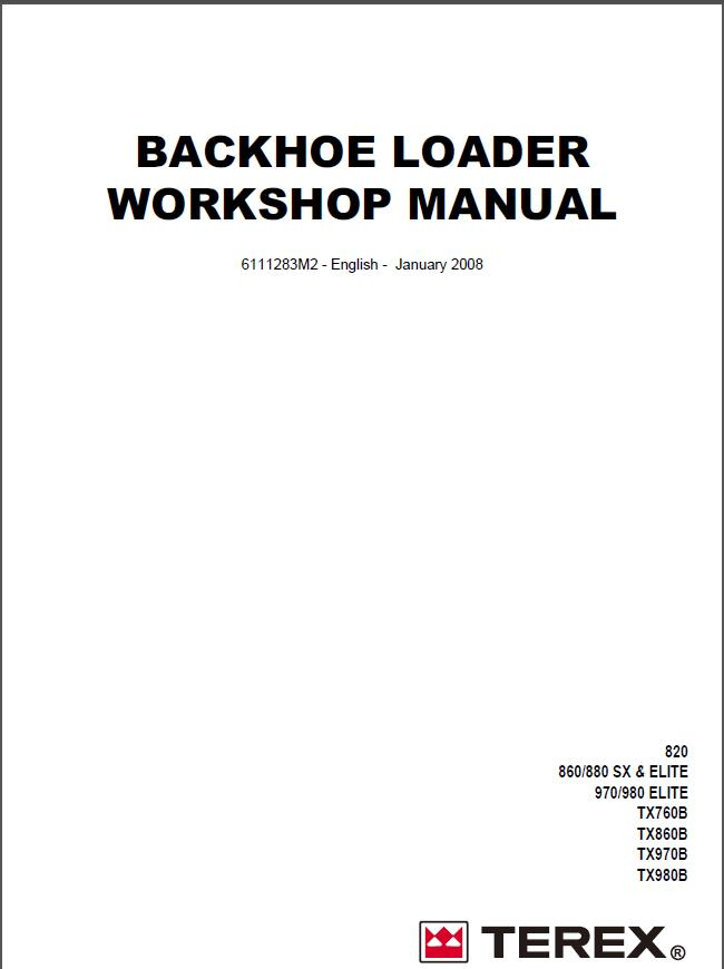 Terex Backhoe Loader TX760,860,970,980 Workshop Manual
