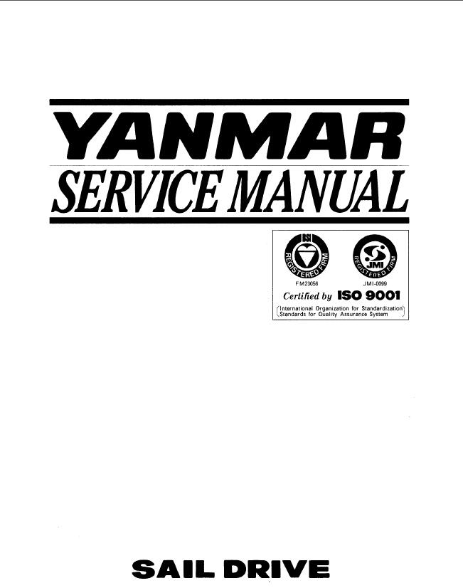 Yanmar Sail Drive Unit SD20, SD30, SD31 Service Repair Manual