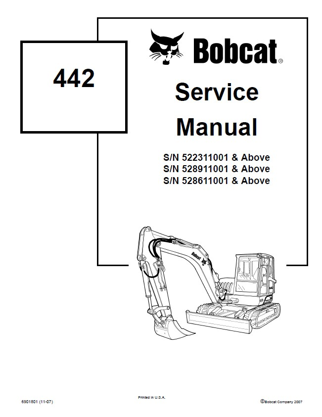Bobcat 442 Compact Excavator Service Repair Manual PDF
