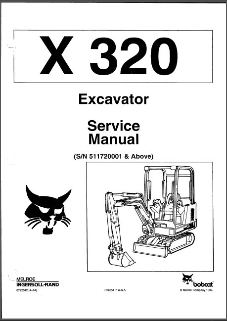 Bobcat X 320 Excavator Service Repair Manual PDF
