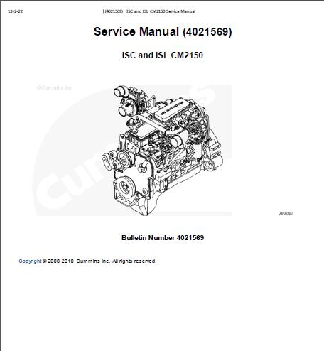 Cummins ISC, ISL CM2150 Engine Service Manual