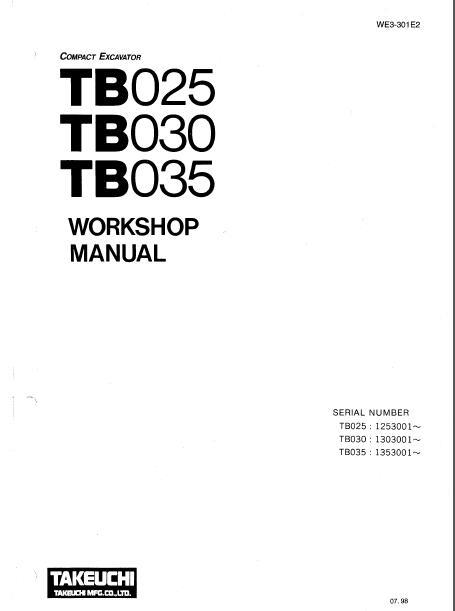 Takeuchi Tb025 Tb030 Tb035 Compact Excavator Workshop