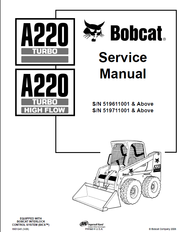 Bobcat A220 Skid Steer Loader Service Repair Manual