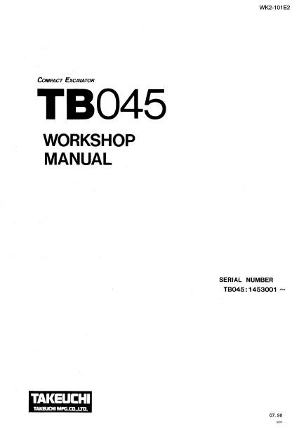 Takeuchi TB045 Compact Excavator Workshop Manual PDF
